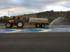 Morning began with a tractor wetting the track