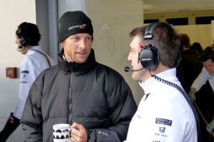 Jenson Button with a cup of tea